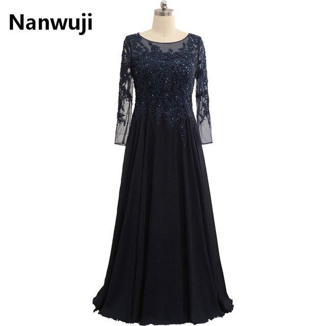 3be354985 Elegante de Renda Manga Longa Vestido de Festa Plus Size Mãe Frisos Vestido  Azul Marinho Longo