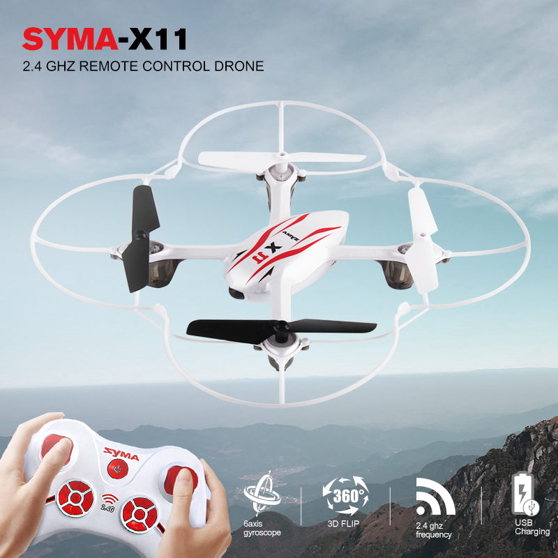 цена на Syma X11 Mini Drone with 2.4G 4CH 6-Axis Gyro RC Quadcopter LED Light 3D Flap RC Helicopter Toy Drone without camera Kids Gifts
