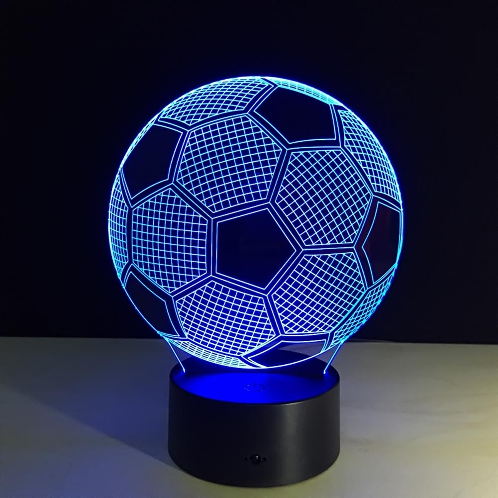 Soccer 3D LED Night Light Touch Table Desk Illusion Lamp 7 Color Chang Light