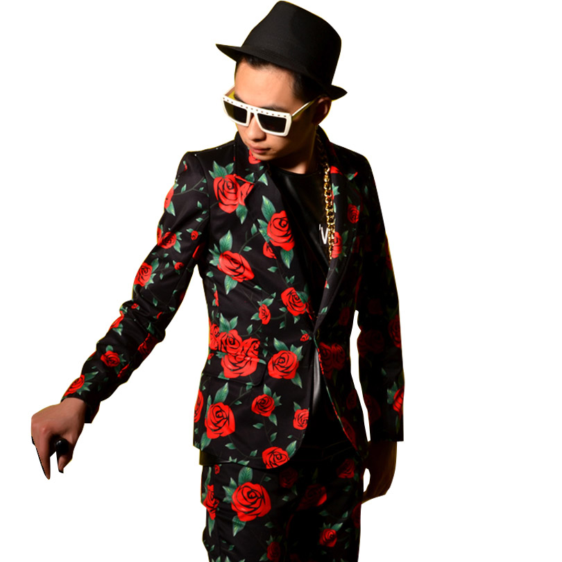 Rose Pattern Printing Fashion Casual Male Suit Jacket Custom Men Suit Blazers Coat DJ Singer Stage Show Costumes