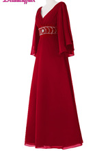 KapokBanyan Real Photo Deep Red Chiffon V Neck Prom Dresses Simple Half Sleeve Long Party Dress 2017 Cheap Robe de soiree