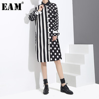 EAM 2018 Spring New Fashion Printting Polka Dot Stitching Striped Long Type Casual Long Sleeve