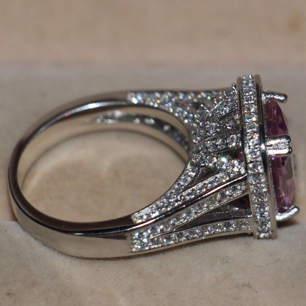 Livraison directe offre spéciale bijoux de luxe 14KT or blanc rempli grand rose 5A cubique zircone enternité pierre de naissance femmes bague de mariage