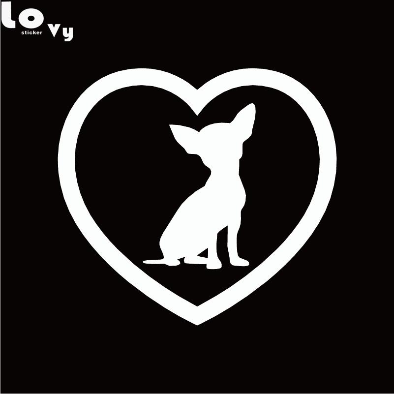 2st Söt Chihuahua Heart Dog Car Sticker Tecknad djurfönster - Exteriör biltillbehör - Foto 2