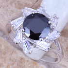 Shiny Black Cubic Zirconia White CZ 925 Sterling Silver Women's Ring Size 6 / 7 / 8 / 9 R1007