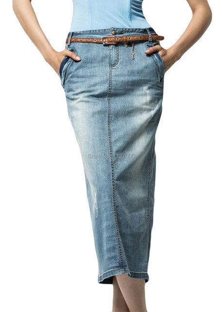 Free Shipping SY Womens Pencil Denim Skirt Stylish Back Split ...