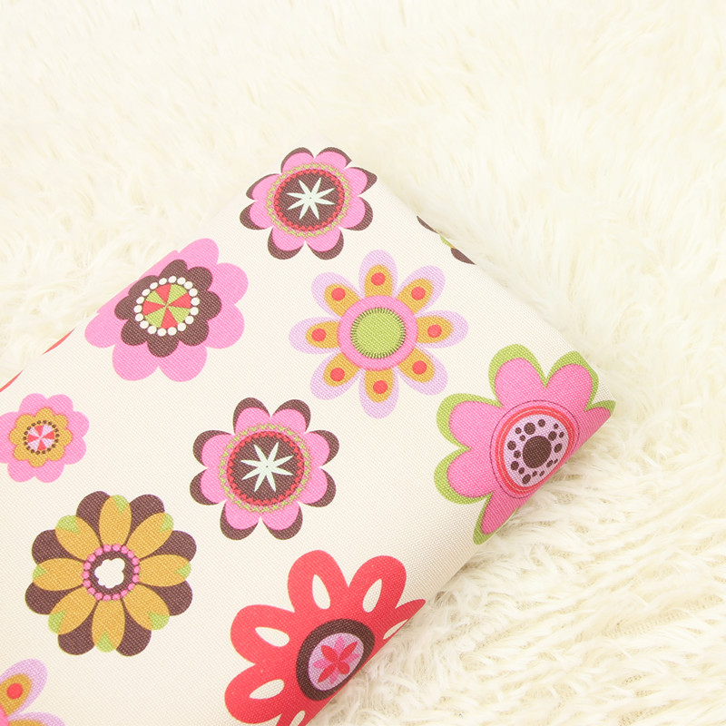 half meter pure cotton canvas print colored flower fabric, handmade DIY bag sofa pillow back cushion cloth A610