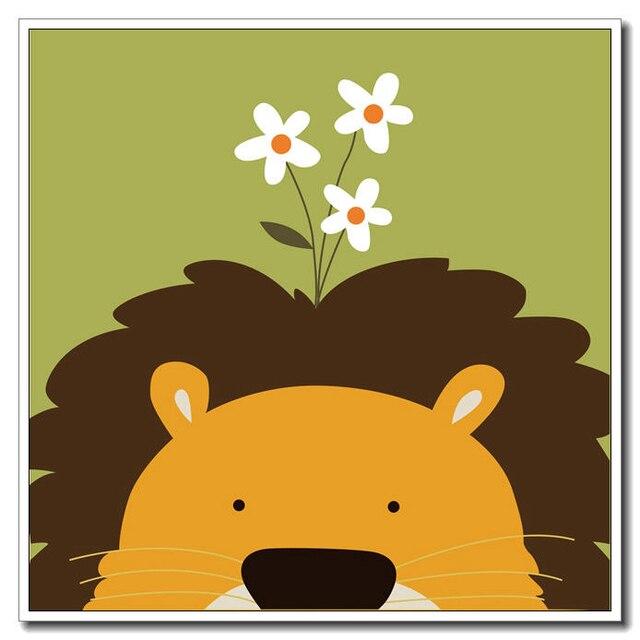Kawaii Animal Lion Poster Printing Modern Nordic Cartoon Nursery ...