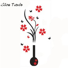 Crystal Arcylic 3D Wall Stickers Decal DIY Vase Flower Tree Home Decor Decoration room Decals Wall Art Sticker vinilos paredes(China)