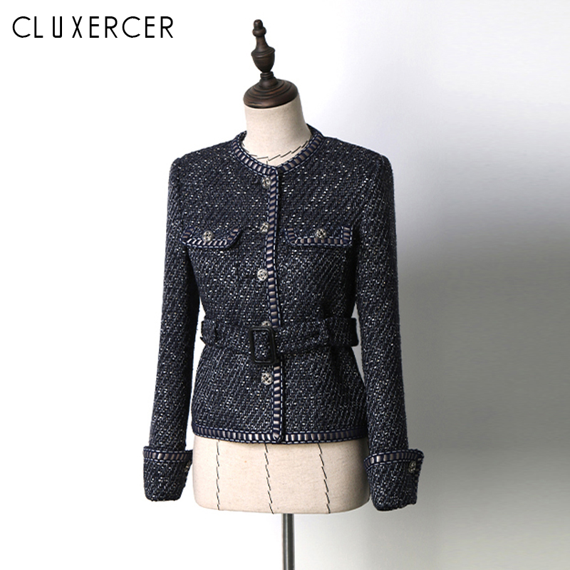 Women Vintage Navy Blue Tweed Blazer 2019 New Fall Long Sleeve Slim Outerwear Office Lady Casual