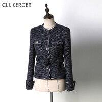 Women Vintage Navy Blue Tweed Blazer 2019 New Fall Long Sleeve Slim Outerwear Office Lady Casual Jacket With Belt
