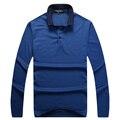 Мужская футболка 2017 запуск с длинными рукавами отложным воротником весна коммерческий моды комфортно джентльмен синий бесплатная доставка