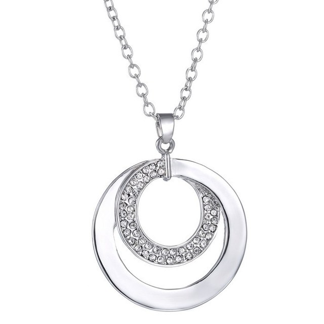 2015 wholesale mother daughter necklace crystal disc stack double