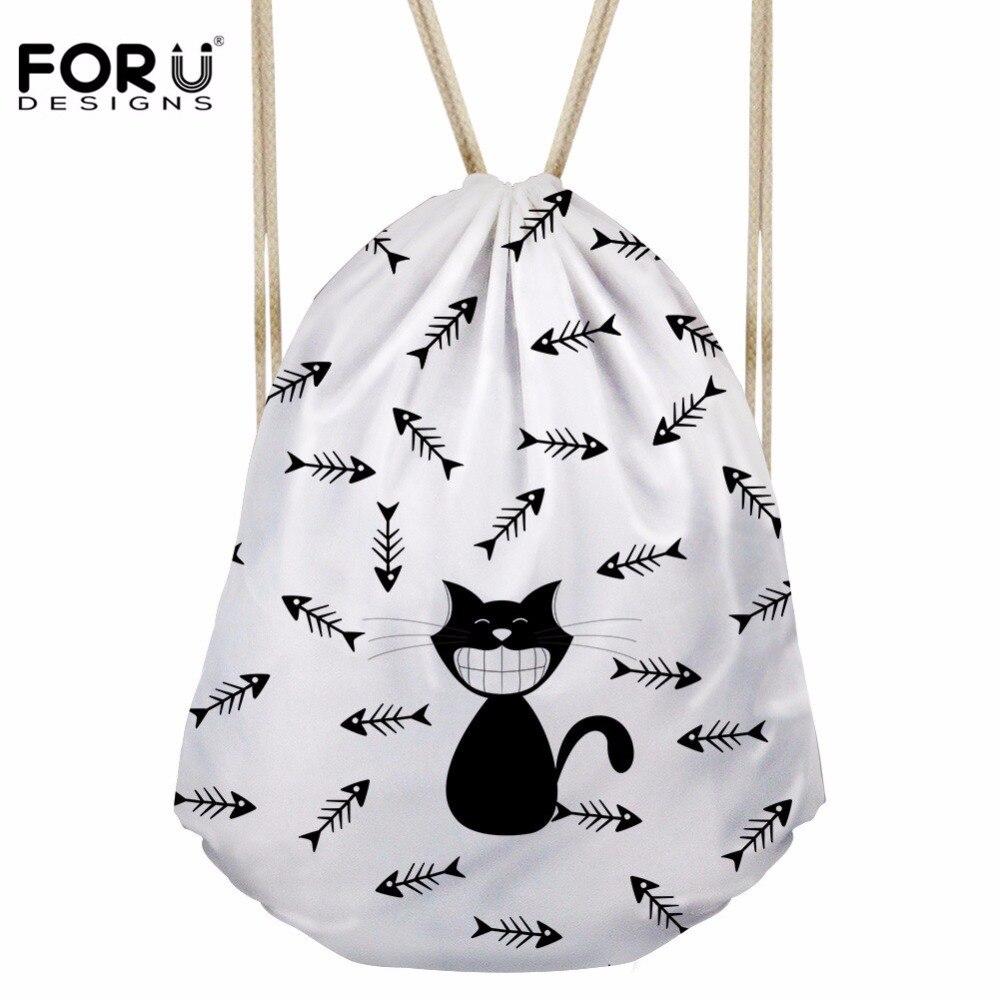 FORUDESIGNS Women's Drawstring Bag Children Cartoon Cat Printing Backpack For Girls Cute Bundle Pouch Fashion Sac Licorne