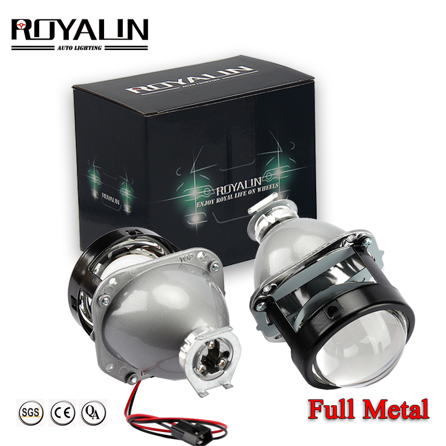 ROYALIN Bi Xenon Headlights Retrofit H1 Mini HID Projector Bulb Bixenon H4 H7 Car Motorcycle Light Lenses 12V Auto Lamp 2.5 Lens