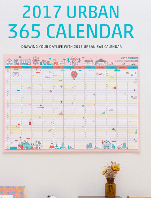 2017 kawaii 365 days calendar drawing daily life pink blue wall paper ...