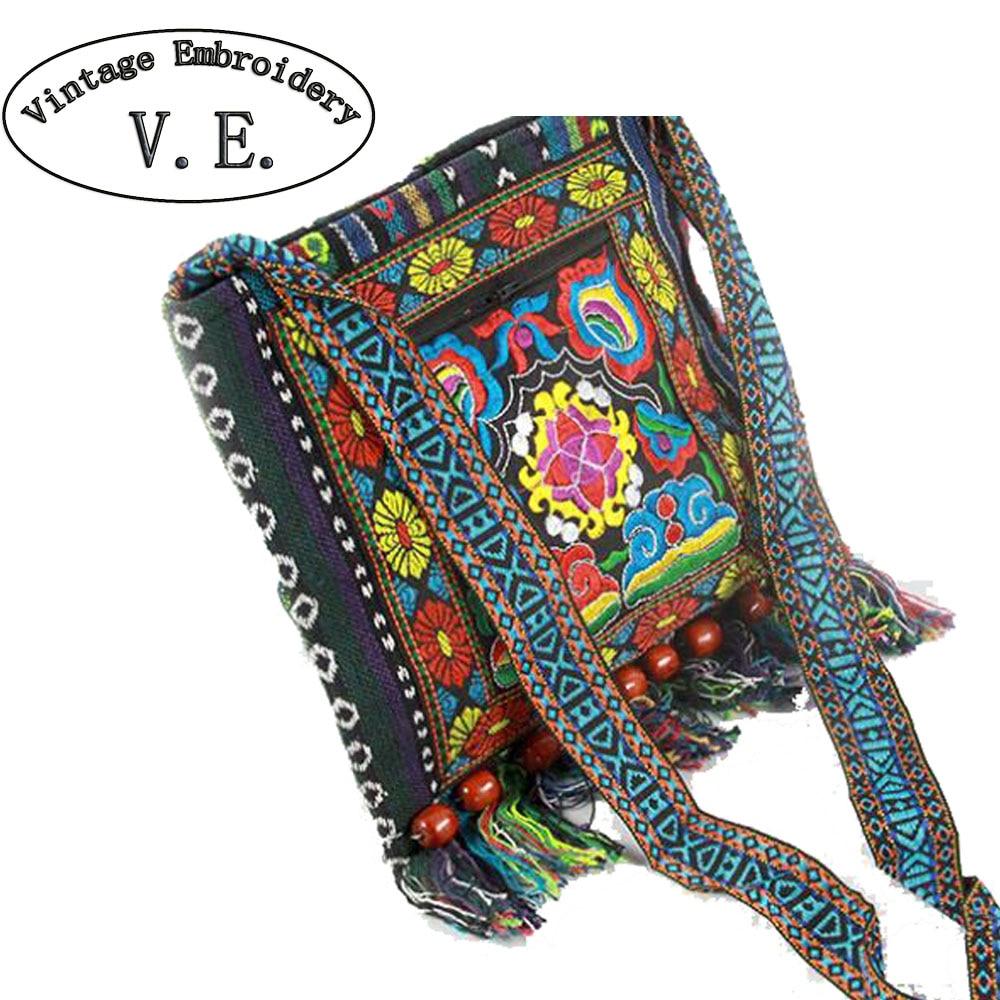 Bolsa de bordado de la vendimia Boho Hobo Hmong compradores étnicos bolsa de hombro de la mujer Messenger Bag bolso bordado