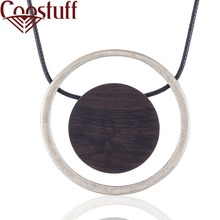 Vintage Black Long Necklace Women with Sandalwood Pendant necklaces & pendants Wholesale Jewelry collares mujer colar choker