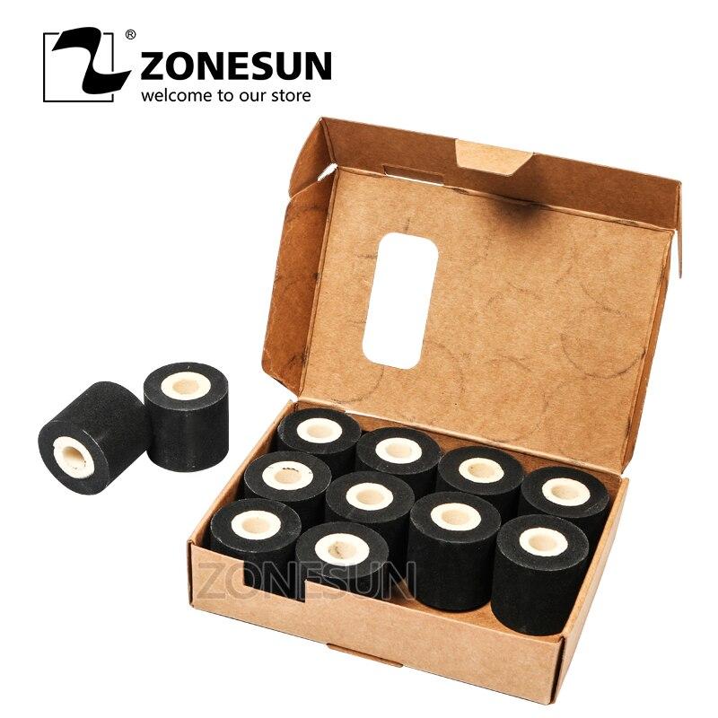 ZONESUN oszczędność energii czarny Hot drukowanie rolka atramentowa dla MY-380F, dobrej jakości wałek do gorącego tuszu, czarny hot print rolki 12 rolki