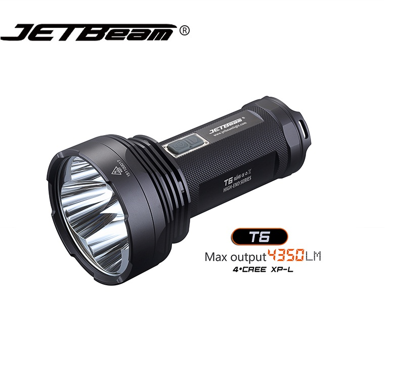 JETBeam T6 4*CREE XP-L 4350 Lumens LED Flashlight 4 ModesTactical Light Compatible by 3*18650 Battery for Self Defense