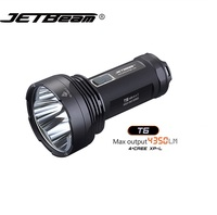 JETBeam T6 4*CREE XP L 4350 Lumens LED Flashlight 4 ModesTactical Light Compatible by 3*18650 Battery for Self Defense