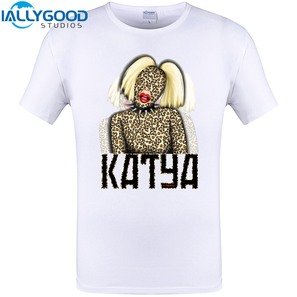 477fa389831 2017 New Arrived Katya smoking leopard Print Mens Cool Desi T Shirt Short  sleeve Summer Funny Tee Plus Size Tops S-5XL