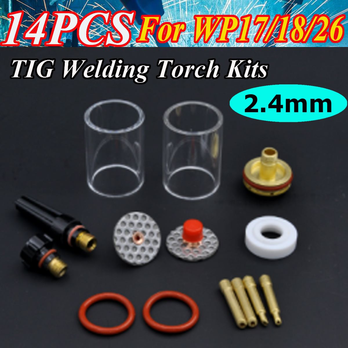 14Pcs TIG Welding Torch Stubby Gas Lens Glass Cup Kit For WP17/18/26 Series 2.4mm 3/32'' 1set 14pcs tig welding torch stubby gas lens glass pyrex cup kit 3 2mm 1 8 for wp17 18 26 welding series