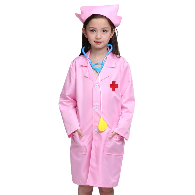 Boy Girl Clothing Sets Kids Clothes Breathable Children Clothing Cosplay Costumes Kids Clothes Doctor Nurse Set White/Pink pretend and play doctor set little doctor kids baby toddler children junior doctor nurses medical set kit role play toy