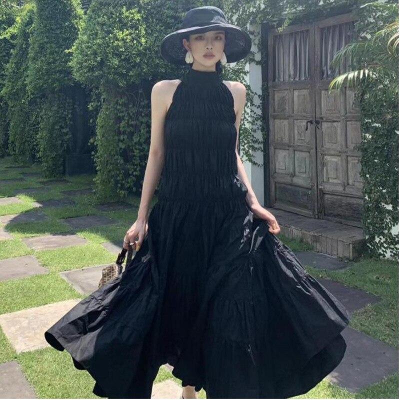 TVVOVVIN femmes robe irrégulière Bandage sans manches col debout Vintage robe noir coton Sexy robes d'été femmes 2019 V234