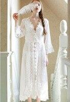 純粋なセクシーなロングナイトウェア白いレースヴィンテージ姫ドレス中世ネグリジェヨーロッパスタイル宮殿ローブ美しいvestidos