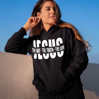 цена 2019 Women Inspiring Religious Christian Sweatshirts Autumn Letter Print Black Pullover Jesus The Way The Truth The Life Hoodies онлайн в 2017 году