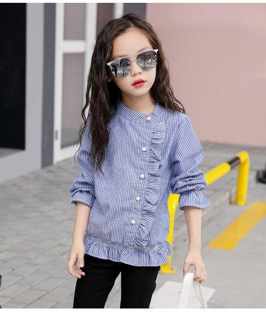 294ee76174020 Enfants filles Blouses et chemises 2018 automne petites grandes filles à  volants chemises pour filles haut