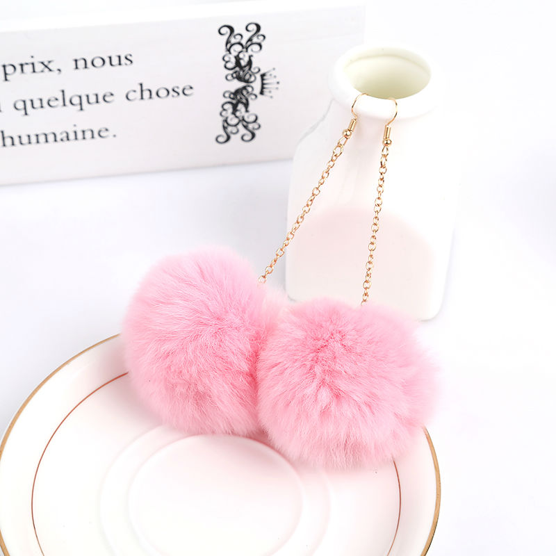 Véritable fourrure de lapin Pom Pom Ball Dangle Boucles d'oreilles - Bijoux fantaisie - Photo 3