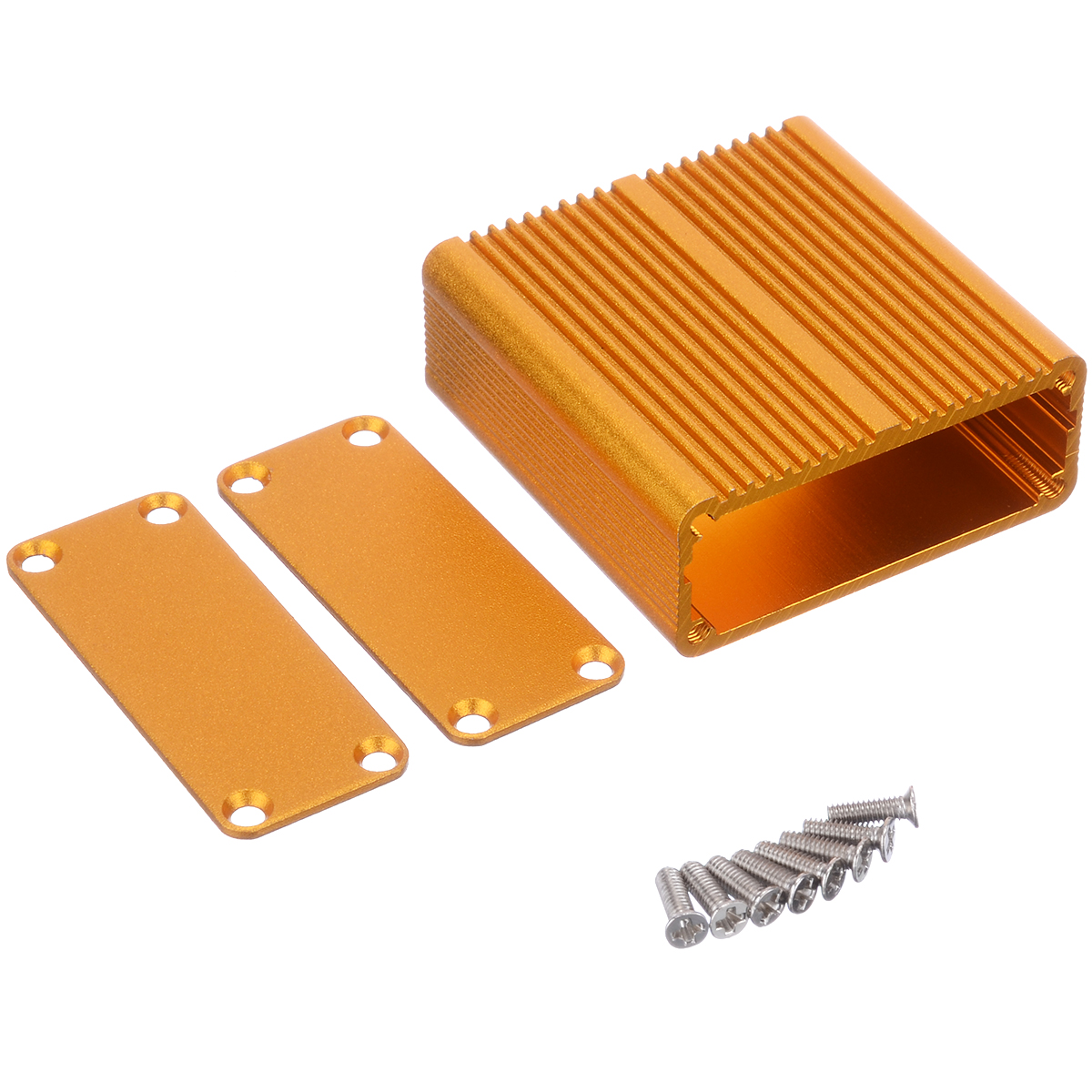 Gold Aluminum PCB Instrument Enclosure Box Electric Project Case 45x45x18.5mm For Holding Circuit Bo
