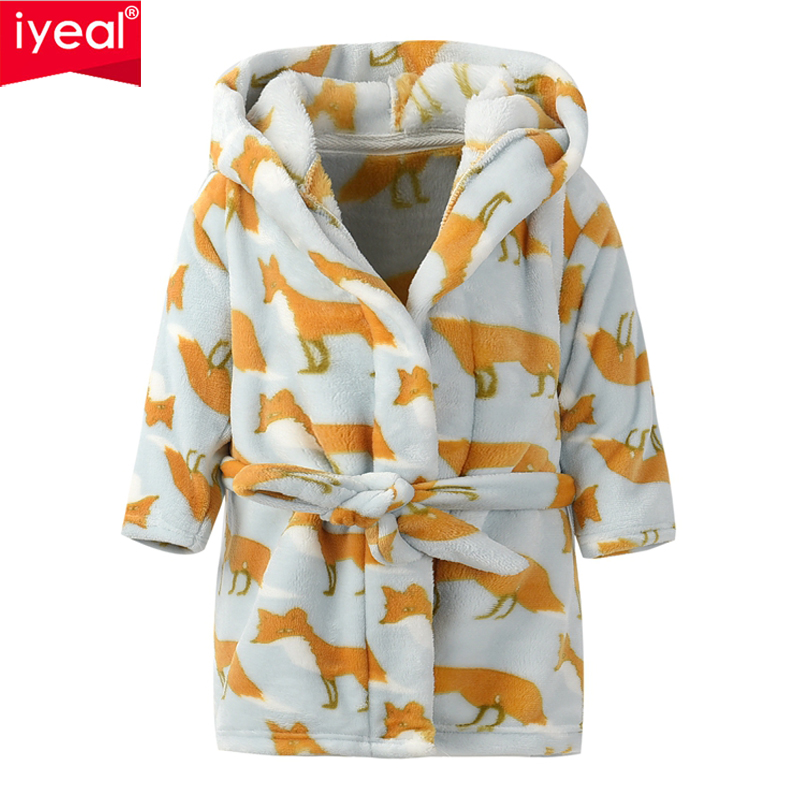 IYEAL Cartoon Kids Baby Robes Soft Flannel Child Boy Girls Lovely Animal Hooded Bath Towel Long Sleeve Bathrobe Children Pajamas