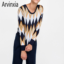 Arvinxia ZA otoño manga larga de cuello V cuello mujeres suéteres Sexy  geométrica Knit Pullovers señora Chic V bajo Slim Femme s. 36881b2469ee