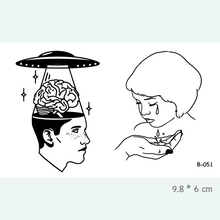 UFO Brain Waterproof Temporary Tattoo Stickers For Adults Body Art Fake Tatoo For Women Tattoos B-051