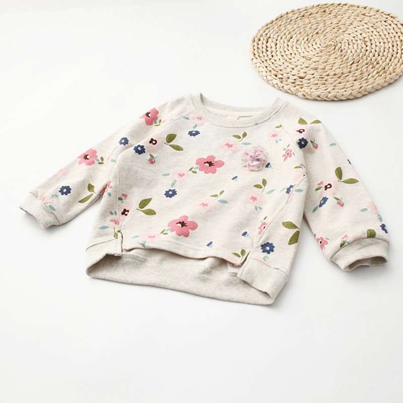 Kids Children Sweatshirt 2017 New Girls Boys Flower Print Pullover Baby Warm Coat Cotton Tops Fashion Clothes Long Sleeves 2-7Y
