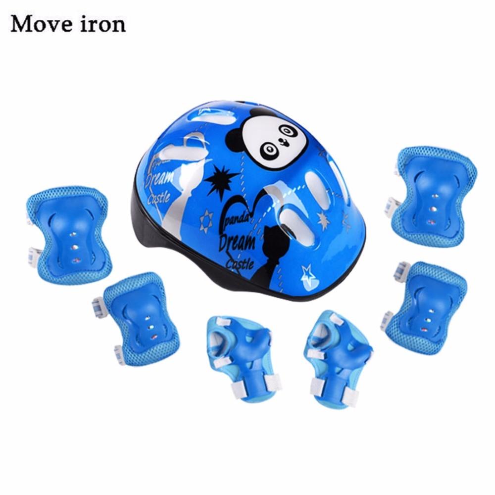 7pcs Panda Kids Velosipēdu ķivere elkoņa plaukstas locītavu spilventiņi Sport Cyling velosipēdu ķivere bērniem Skrituļdēlis Mtb Riding casco ciclismo