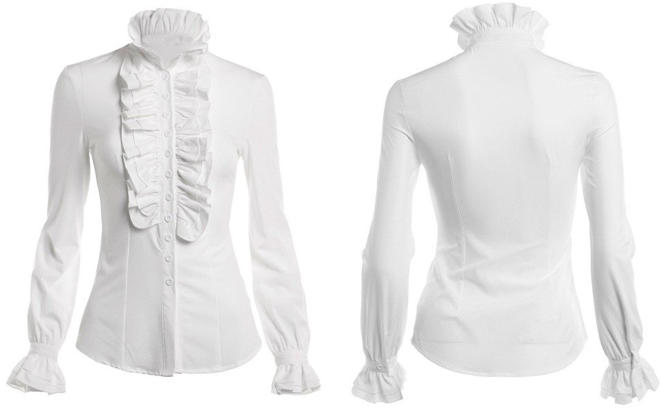 0b862c2b2a9ff Women Retro Stand Up Collar Lotus Ruffle Victoria Shirts Blouse steampunk  shirt-in Blouses   Shirts from Women s Clothing on Aliexpress.com