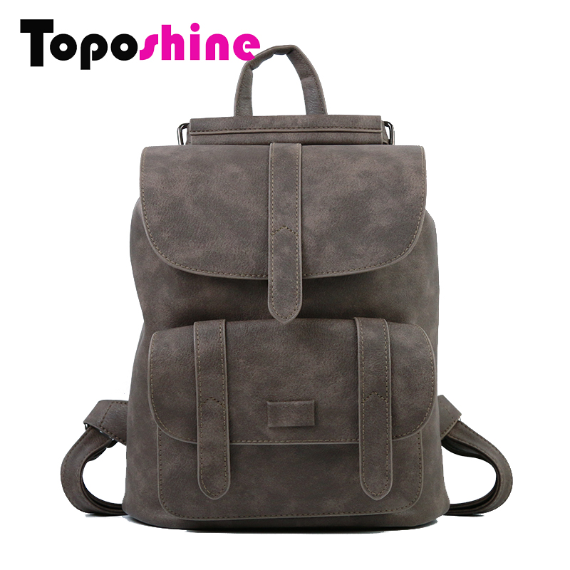 Toposhine New Design Women Backpack Solid Hasp Female Bag Fashion Girls School Bags Lady Soft PU Leather Bag Women Backpack 1523 new arrival women genuine leather backpack young lady real leather backpack luxury female school bags with simple design e143