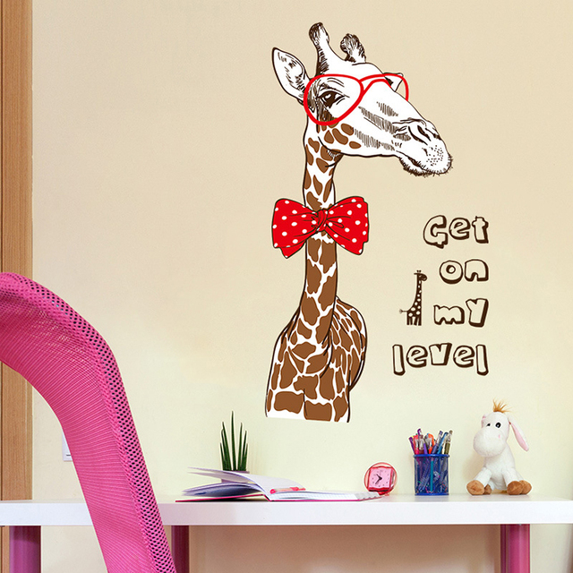 Fashion Giraffe Large Wall Stickers Animal Decals Home Decor Bedroom Diy  Mural Wallpaper Removable
