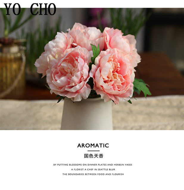 Online shop big 1 bouquet 5 heads artificial silk peony bouquet 1 piece red color silk artificial peony bouquet showing mightylinksfo