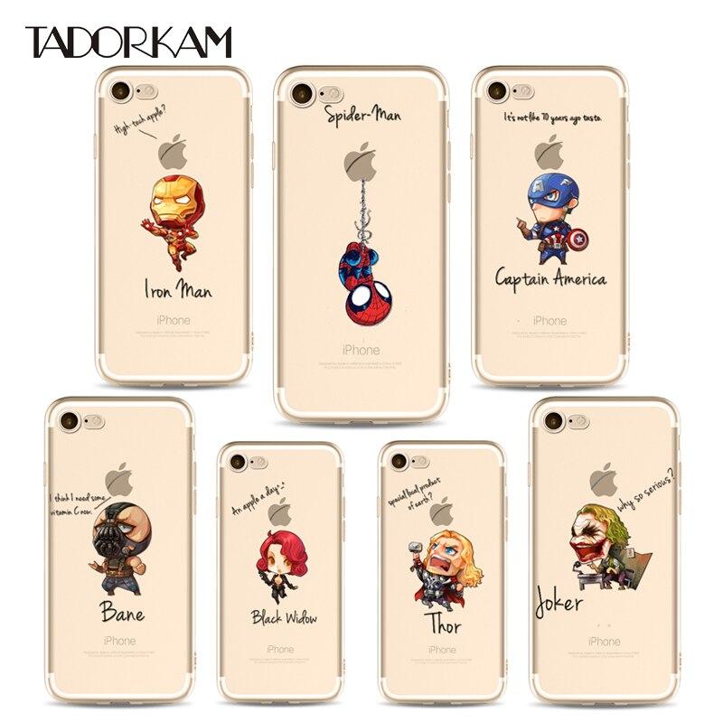 Человек-паук Железный человек Мстители телефона Чехлы для iPhone 6 6 S плюс 7 7 Plus Super Hero кремния мягкая задняя чехол