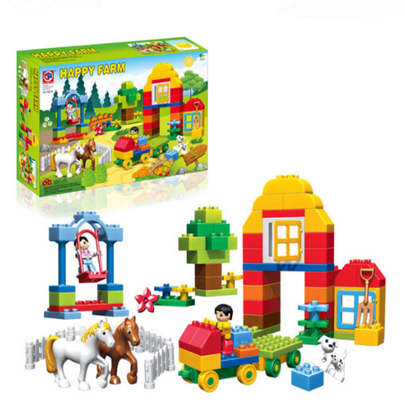 цена на 90pcs Happy Farm Animal Horse Farm Building Blocks Compatible LegoINGly Duploe Animals Sets Bricks Toy 188-36