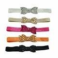 Sólido elástico Bling Glitter Headbands Com Lantejoulas Nó Para A Criança Do Bebê Da Menina Do Cabelo Bow Headwraps Acessórios Para o Cabelo