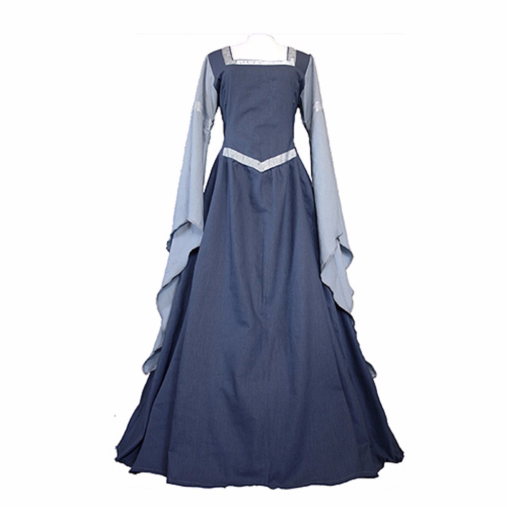 Adult's Dress Medieval Gothic Victorian Ball Gown Dress With Long Trumpet Sleeve for Halloween Carnival