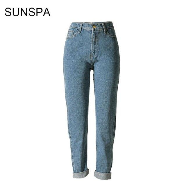 SUNSPA 2017 Mode Vintage Dames Rétro Taille Haute Jeans Femme Mince Crayon  Casual Denim Pantalon Boyfriend d4b709f73fd