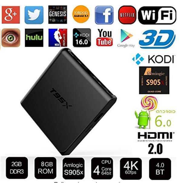 10 unids T95X android tv box 1g 8g/2G 8G/2G 16G Amlogic S905X Quad Core Android 6.0 TV Box con 4 K * 2 K Kodi 16.1