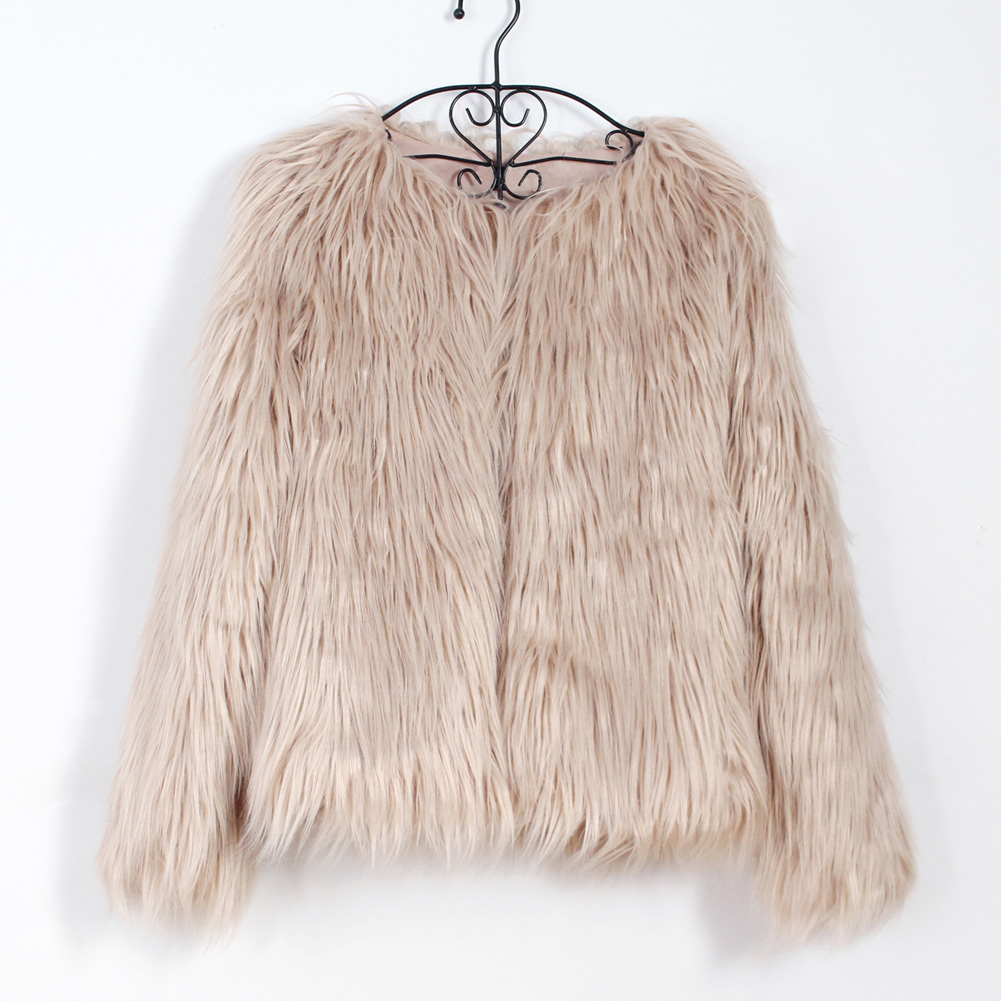 Fashion Furry Faux Fur Coat Women Fluffy Warm Long Sleeve Female Outerwear Autumn Winter Coat Jacket Hairy Collarless Overcoat 22